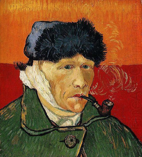 Self Portrait with Bandaged Ear and Pipe, Vincent Van Gogh