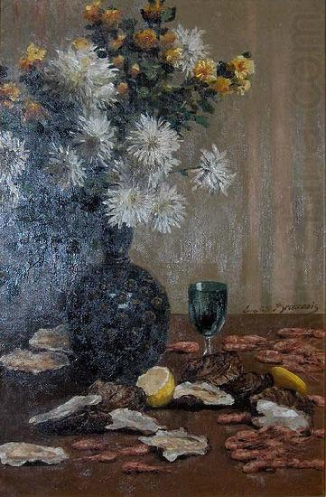 Still life with oysters and shrimps, unknow artist