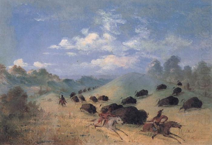 Comanche Indians Chasing Buffalo with Lances and Bows, George Catlin