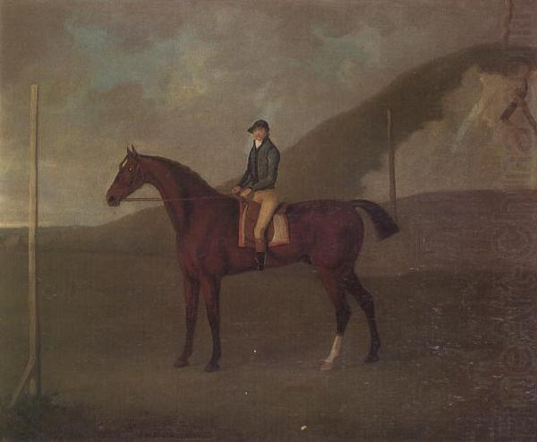 'Creeper' a Bay colt with Jockey up at the Starting post at the Running Gap in the Devils Ditch,Newmarket, John Nost Sartorius